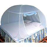 Healthy Sleeping Foldable Polyester Flexible for Double Bed, King Size Bed, Queen Size Bed Mosquito Net Embroidery Prime (Sky Blue)