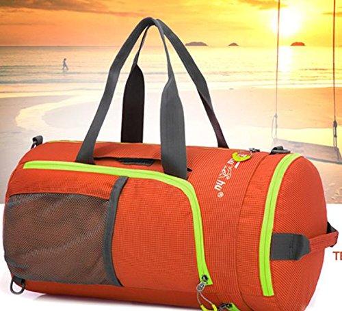 Nylon spalla borse borse all'aperto per uomini e donne canna esterna mano-spalla zaino multifunzionale borsa zaino pieghevole , purple Orange