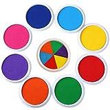 Enjoyall Stempelkissen, Stempelkissen für DIY Scrapbooking Malerei für Kinder auf Papier Holz Fingerprint Stoff Stempel, Satz von 9 Farben