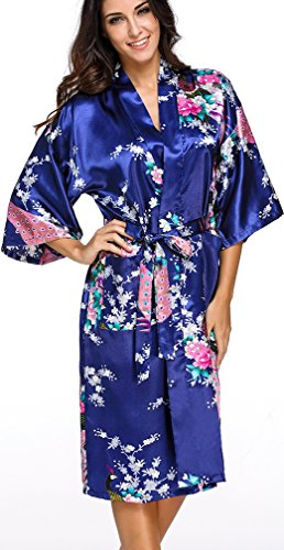 FLYCHEN lange Kimonos für Damen Bademantel aus Satin mit Pfau und Blüten Morgenmantel Robe Dunkelblau-2