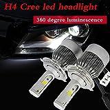 #9: 1 Set H4 Headlight Kit Bulbs COB Chip C6 36W 3800LM Car LED Headlight Bulb Replace for Halogen or HID Bulbs C6-H4 For Maruti Suzuki New Swift