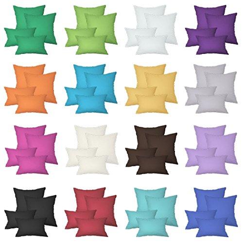 Qool24 2er Pack Kissenbezüge in 25 Farben & 10 Größen mit Reißverschluss 100% Baumwolle Weiß 50...