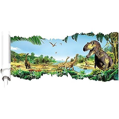 Pegatina Vinilo PVC 3D Decoración Pared Hogar Sala Habitación Cocina Dinosaurio Selva