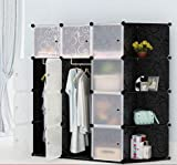#9: GoldenCart Multi-use DIY Foldable 16 Cubes Wardrobe, Book shelf, Toys Storage, Creative Cabinet - Black Colour with White Designer Doors having metal ring (12 Cubes + 4 Additional Side/Top Cubes to keep Home Decor Props)