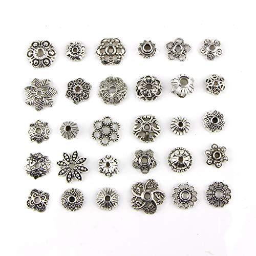 150 Stück 8-15 mm Großhandel Großhandel Großhandel Lose Silber Charm-Perlen Perlen Perlen Perlen Kappen Hohl Blume Perlen Kappen für DIY für Halskette Armband Schmuck (Großhandel Kostüm Schmuck Perlen)