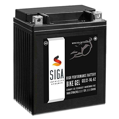 SIGA Bike Gel YB14L-A2 Motorrad Batterie 14Ah 12V 270A/EN GEL12-14L-A2, CB14L-A2, 12N14-3A