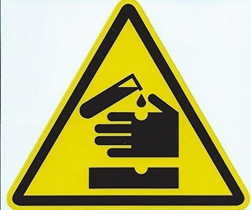 11,4 x 10,2 cm acido corrosivo warning Sign Decal Sticker Business segni decalcomanie adesivi