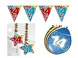 Partydeko Set 14.Geburtstag Kindergeburtstag 11 teilig Mädchen Junge Girlande Luftballon