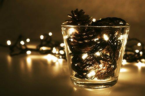 LED Universum WBLWW2065 LED Lichterkette warmweiß mit 200 LEDs Länge: 20 Meter (Stimmungsbeleuchtung spritzwassergeschützt, für innen und außen, Weihnachten, Feier, Wohnzimmer, Garten, Terasse)