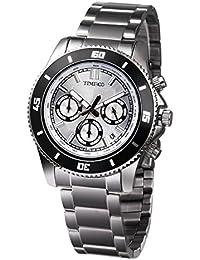 Time100 Fashion Multifunction Calendar Retro 3 Sub-dials Circles Design Luminous Hands Steel Quartz Men Watch #W70081G.03A (steel)