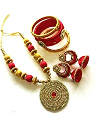 Goelx New Arrival: Red & Antique Gold Silk Thread Pendant Neckset Handmade Collection For Women With Jhumka And...