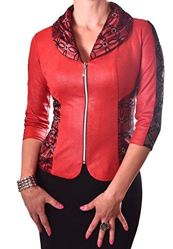 PoshTops Damen Zip-Up Blazer mit Puff Reverskragen Dehnbares Material Frauen Shirt 3/4 Arm Größen S – XXXL Abendkleidung Freizeitkleidung Plus Size (Burgunderrot, L / 42) (Puff Ärmel Top 3/4)