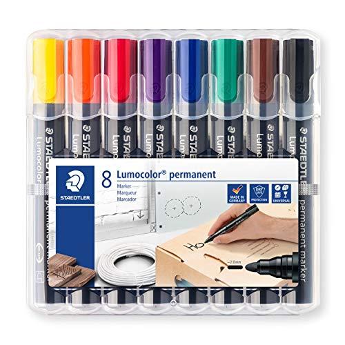 Staedtler Lumocolor 352 WP8 permanent marker, Rundspitze, 2 mm, aufstellbare Box mit 8 farben -