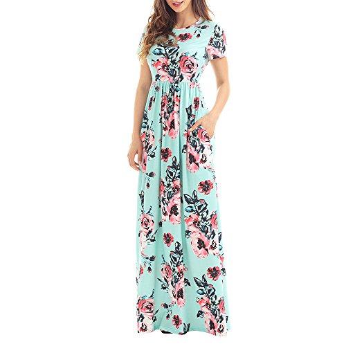 Uranus Damen Sommer Kurzarm Grün Blumendruck Eine Linie Beiläufig Maxi Langes Kleid (Exotische Meerjungfrau Kostüme)