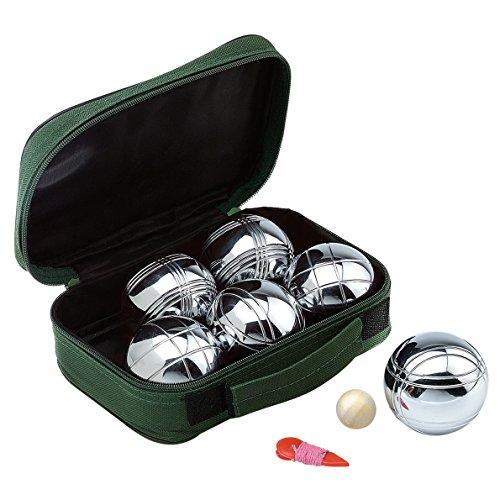 elasto Garten Boule-Set Boccia-Set mit 6 Metallkugeln 1 Holzkugel und 1 Messfaden mit Praktischer Tragetasche