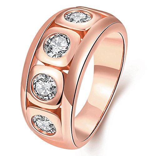 Thumby K Gold-Inlay Und Weise Zircon-Kristall-Ring für Frau,rosengoldbeschichtet,7