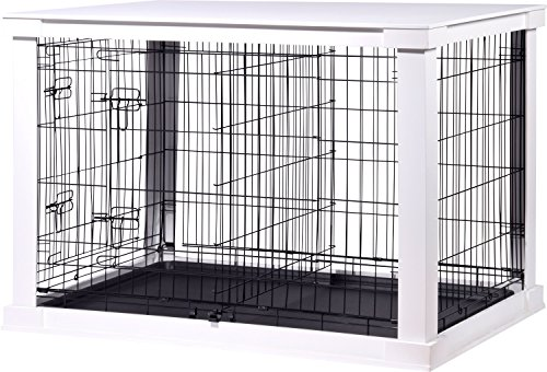dobar 35242 Großer Hundekäfig aus Holz mit Tischoberfläche für innen, Hundebox Indoor, L, weiß (Hundebox Aus Holz)