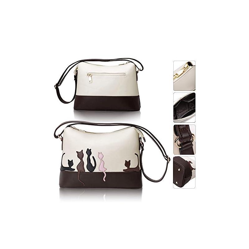Hotrose PU Leather Handbag Women Shoulder Bag Cute Cat Messenger Tote
