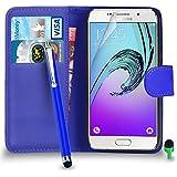 POUR Samsung Galaxy A5 2016 - SHUKAN® Prime Cuir BLEU Portefeuille Cas Coque Couverture avec Big Toucher Style Stylo VERT Cap Protecteur d'écran & Tissu de polissage