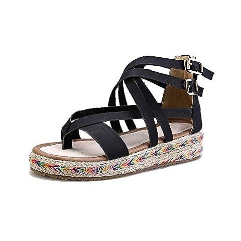 Womens Beach Flat Sandal Woven Sole Thong sandal #7-Black Tag 39 - UK 6