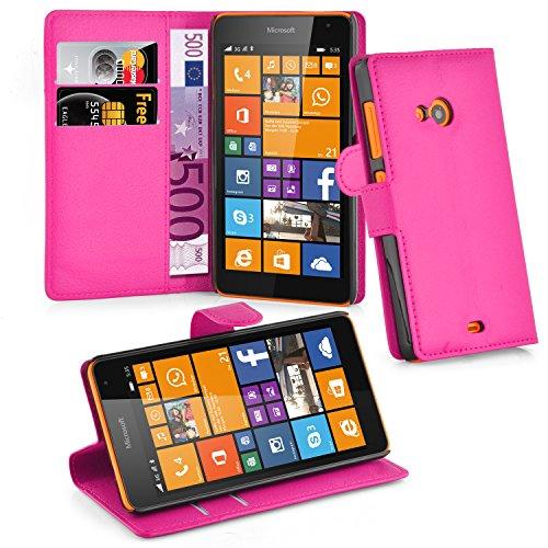Cadorabo Hülle für Nokia Lumia 535 Hülle in Cherry Pink Handyhülle mit Kartenfach und Standfunktion Case Cover Schutzhülle Etui Tasche Book Klapp Style Cherry-Pink