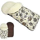 rawstyle Saco de pie de invierno * Marrón + búho $5* Saco de pie para bebé por ejemplo maxi-cosi, Römer, Cochecito o Buggy etc. nuevo Saco lana de cordero Búhos