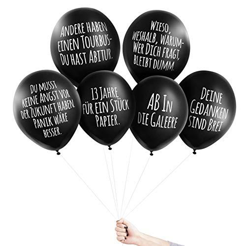 Pechkeks Anti-Party-Ballons, schwarze Luftballons mit schrägen Sprüchen, Abitur-Set, schwarz