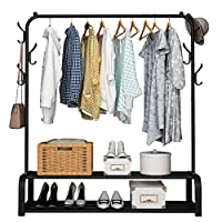 UDEAR Garment Rack Free-standing Clothes Rack With Top Rod,Lower Storage and 8 Hooks