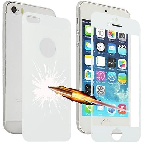 iPhone 5/5S película antigolpes cristal templado 0,3mm color blanco LOPURS explosión delantero/trasero