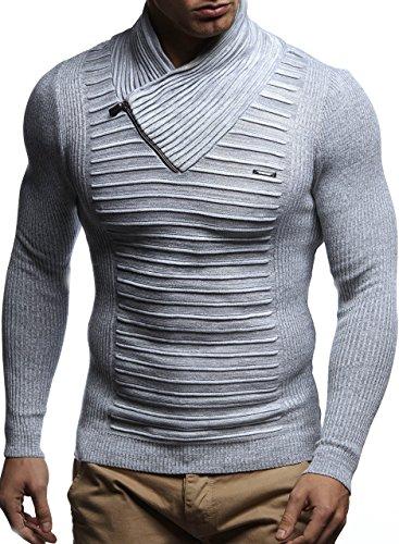 LEIF NELSON Herren Strickpullover Pullover Sweatshirt LN1535; Grš§e M, Ecru-Grau