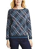 CECIL Damen Sweatshirt KEY_Brushed Jacquard Check, Blau (Deep Blue 30128), X-Large