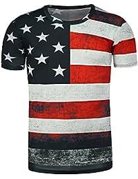 10ed2f42b277 EbuyChX - T-Shirt imprimé Drapeau américain