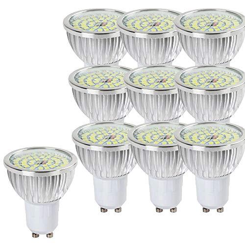 NUOXIN 10 STÜCK 6W Superhelle GU10 Scheinwerfer LED Glühlampe, kühles Weiß 6000K 60W-Äquivalent, energiesparend, ideal zum Ersetzen von Halogenlampen GU10 60W 600LM -