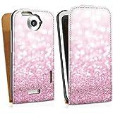HTC One X Tasche Hülle Flip Case Glitzer Look Pink Glanz