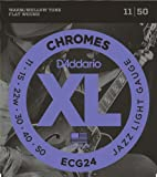 D'Addario Cordes à filet plat pour guitare électrique D'Addario Chromes ECG24, Jazz Light, 11-50