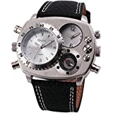 Accmart OULM Military Army Dual Time Zones Movements Quartz Watch Leather Sports Mens Watch