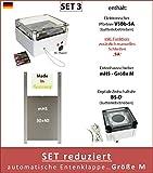 AXT-Electronic Set 3 - Pförtner mit Batterien, Außenmontage, Zeitschaltuhr, manuelles Schließen Möglich,Entenklappe