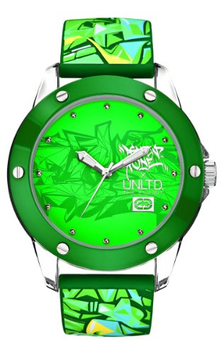 Marc Ecko Men's The Tran Green Dial Watch E09530G6 with a Green Silicone Strap