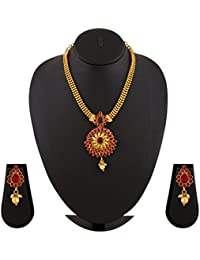 Gold Plated Ruby Necklace Set By Sapna FX-1113A
