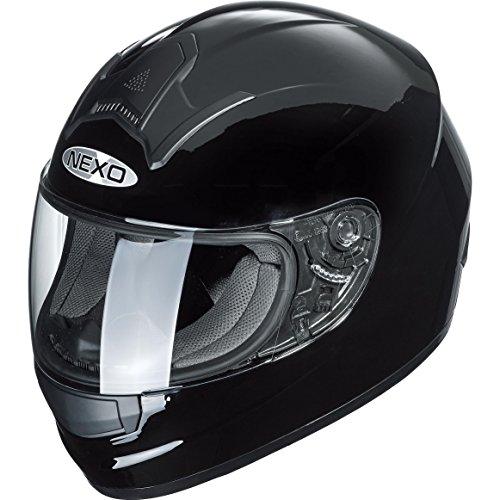 Motorradhelm Nexo Basic, Integralhelm, herausnehmbares Komfortpolster, große mehrfache Be- und Entlüftung, Nasen-, Kinnwindabweiser, klares und kratzfestes Visier, Ratschenverschluss, schwarz, XS