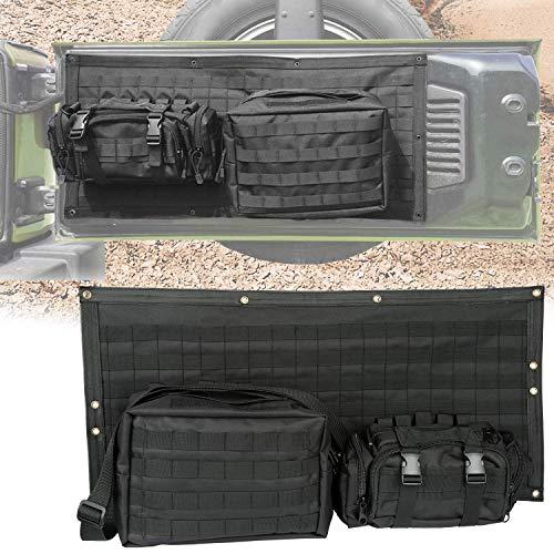 L&U Custodia portellone Borsa Custodia Tasche portaoggetti Nere Kit di Attrezzi Organizzatore Staccabile per Jeep Wrangler JK JKU 2007-2017