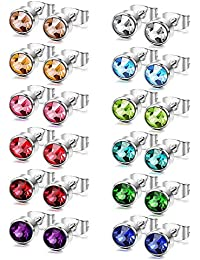 Sailimue women's round ear studs 4 - 6 mm, stainless steel cubic zirconia, 10- 12pairs