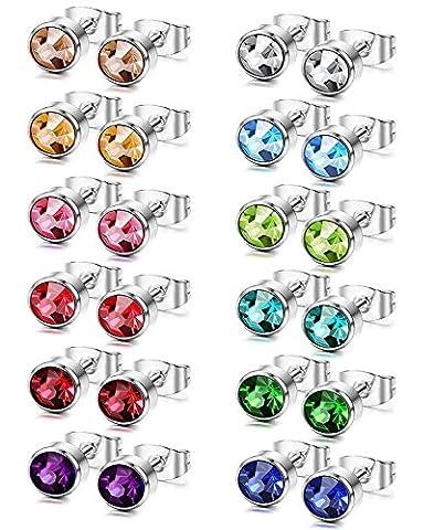 Sailimue 12 Pairs Stainless Steel Stud Earrings for Men Women CZ Earrings Set,6mm
