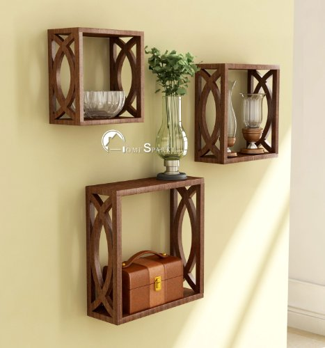 Home Sparkle Wooden Cubes (Set of 3, Brown)