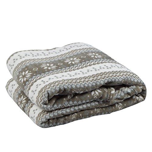 Coperta da divano vendôme soft coral fleece mon château in pile coral 150 x 200 cm, colore: grigio/crema