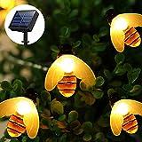 luci giardino esterno Impermeabile luci solare giardino ape,11FT/3.5M 20 LED Ape Catena Luminosa,illuminazione giardino luce catena api decorative per Patio, matrimonio, partito (bianco caldo)