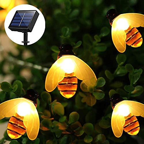 luci giardino esterno Impermeabile luci solare giardino ape,21FT/6.5M 50 LED Ape Catena Luminosa,illuminazione giardino luce catena api decorative per Patio, matrimonio, partito (bianco caldo)