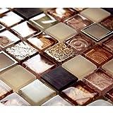 tessere di mosaico in acciaio inox pietra naturale in ottone e vetro mosaico–Beige/Arancione