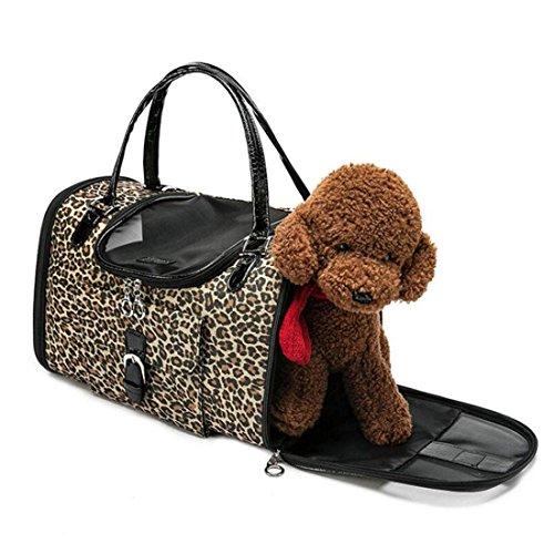 WYXIN Pet Carrier Hund Tote Bag Weiche Breathable PU Leder Handtasche Reise Geldbörse Umhängetasche für Kleine Kätzchen Welpen (40 * 26 * 20 CM)) , S (Tote Bag Kätzchen)