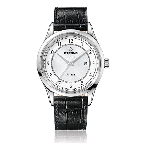eterna artena Herren Quarz-Uhr mit weißem Zifferblatt Analog-Anzeige und schwarz Lederband 2520.41.64.1258